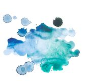 Abstract watercolor aquarelle hand drawn blue art Stock Image