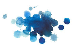 Abstract watercolor aquarelle hand drawn blue drop. Splatter stain art paint on white background Royalty Free Stock Image