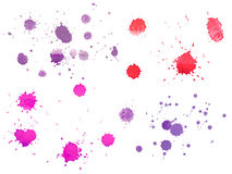 Abstract watercolor aquarelle hand drawn colorful. Drop splatter stain art paint on white background Stock Images