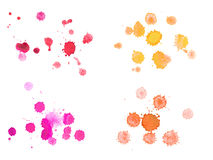 Abstract watercolor aquarelle hand drawn colorful. Drop splatter stain art paint on white background Royalty Free Stock Images