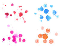 Abstract watercolor aquarelle hand drawn colorful. Drop splatter stain art paint on white background stock photos
