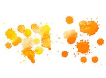 Abstract watercolor aquarelle hand drawn colorful drop splatter stain art paint on white background Vector illustration Royalty Free Stock Images