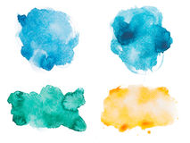 Abstract watercolor aquarelle hand drawn colorful. Shapes art paint splatter stain on white background Royalty Free Stock Photography