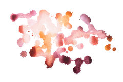 Abstract watercolor aquarelle hand drawn colorful shapes art red color paint or blood splatter stain.  Royalty Free Stock Photo