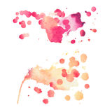 Abstract watercolor aquarelle hand drawn colorful shapes art red color paint or blood splatter stain.  stock photo