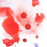 Abstract watercolor aquarelle hand drawn colorful shapes art red color paint or blood splatter stain.  Stock Images