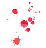 Abstract watercolor aquarelle hand drawn red drop. Splatter stain art paint on white background Stock Photography