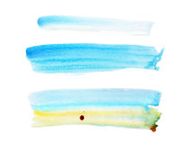 Abstract watercolor aquarelle paint hand drawn colorful splatter stain.  Royalty Free Stock Photo