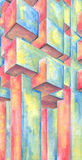 Abstract watercolor art colorful painting. Perspective hand drawn artwork of interlocking geometric shapes using primary colors. Watercolor on paper with pencil Stock Photography