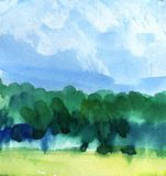 Abstract watercolor background. Blue sky on a sunny day with cumulus clouds. Silhouette of a green forest. royalty free illustration