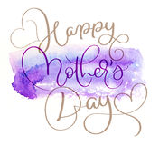 Abstract watercolor background in blue and text Happy mothers day. Calligraphy lettering hand draw.  stock illustration
