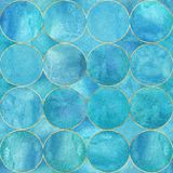 Abstract watercolor background with blue turquoise color circles. Watercolor hand drawn seamless pattern with gold contour line. Watercolour luxury texture royalty free illustration