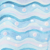 Abstract watercolor background with blue waves and lowers Royalty Free Stock Photo