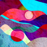 Abstract watercolor background with colorful wave. Abstract watercolor bright background with different colorful wave elements Stock Photo