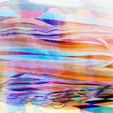 Abstract watercolor background with colorful wave. Abstract watercolor bright background with different colorful wave elements Royalty Free Stock Photo