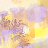 Abstract watercolor background with graphic floral elements Stock Photos