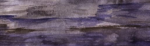 Abstract watercolor background. Gray-violet brushstrokes on paper with a grainy texture. Hand-drawn watercolor illustration royalty free stock photos
