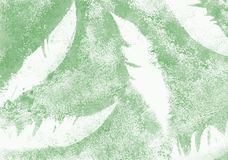 Abstract watercolor background in green colors. Green grunge feather-shaped spots stock illustration