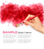 Abstract watercolor background with hand. Vector Royalty Free Stock Photo