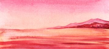 Free Abstract Watercolor Background In Pink Shades. Idyllic Landscape Of Cloudless Pink Sky, Crimson Outlines Of Rocky Island And Stock Image - 181733441