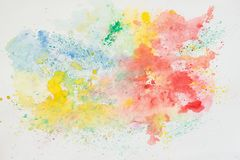Abstract watercolor background, iridescent texture in colorful shades of vivid bright colors on white paper, rainbow Stock Photography