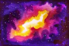Cosmic watercolor background Royalty Free Stock Images