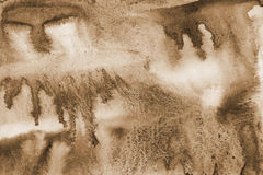 Abstract watercolor background on paper texture. In Sepia toned. Royalty Free Stock Image