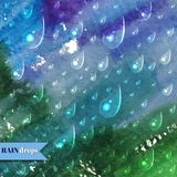 Abstract watercolor Background with rain drops Stock Photos