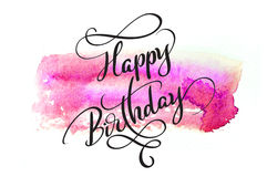 Abstract watercolor background in red and text Happy Birthday. Calligraphy lettering.  Stock Photo