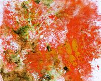 Abstract watercolor background and rowan leaves. Mixed media Royalty Free Stock Image