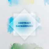 Abstract Watercolor Background with Splashes and Squares Stock Photography