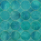 Abstract watercolor background with teal turquoise color circles. Watercolor hand drawn seamless pattern with gold contour line. Watercolour luxury texture royalty free illustration