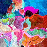 Abstract watercolor background. Watercolors of the interesting retro multicolored abstract elements Stock Illustration