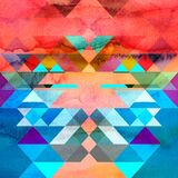 Abstract Watercolor Background With Geometric Elements Stock Photos