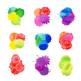 Abstract  watercolor blots isolated. Paint splashes set for design use. Hand drawn blots set. Colorful watercolor splash texture. Watercolor splash isolated on Royalty Free Stock Image