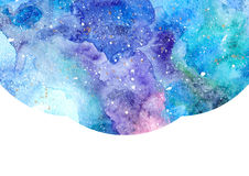 Abstract watercolor blue background. Watercolor blue abstract background with white frame. Cosmic space background Stock Image