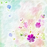 Abstract watercolor blue flowers on green background Royalty Free Stock Photo