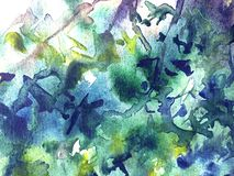 Abstract watercolor blue leaf background