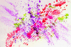 Abstract watercolor bright colorful background painting with spray, spots, splashes. Hand drawn on paper grain texture. For modern pattern, wallpaper, text Royalty Free Stock Photography