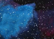 Abstract space watercolor background, Watercolor galaxy painting. stock photography