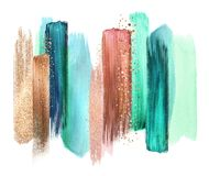 Free Abstract Watercolor Brush Strokes, Creative Illustration, Artistic Color Palette, Mint Copper Royalty Free Stock Photos - 156250678