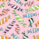 Abstract watercolor candy seamless pattern on the pink background Stock Images