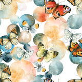 Abstract watercolor circles and butterfly seamless pattern Stock Photography