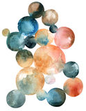 Abstract watercolor circles  on white background Stock Photos