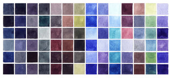 Abstract Watercolor Cold Colors Squares Royalty Free Stock Photography