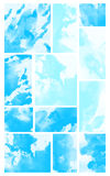 Abstract Watercolor Collage of Clouds. Abstract RGB sky blue, light turquoise color watercolor brush stroke collage of clouds Royalty Free Stock Image