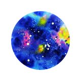 Abstract watercolor cosmos round stock photo
