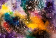 Abstract watercolor cosmos with stars background.  Stock Photos