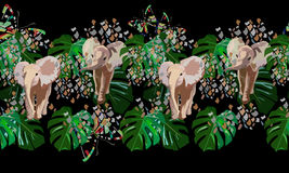 Abstract watercolor draw of  baby elephants, tropical green leaves Royalty Free Stock Photography