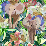 Abstract watercolor draw of Two baby elephants. Tropical flowers, green leaves, background colorful rainforest, color fashion prints design texture, animal royalty free illustration